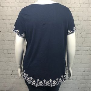 Charter Club Tops - Charter Club Navy & White Embroidered Top Size 2X